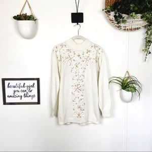 Vintage Embroidered Mock Neck Beaded Sweater